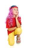 Een meisje in buitensporige kleren en 3d glazen Royalty-vrije Stock Afbeelding