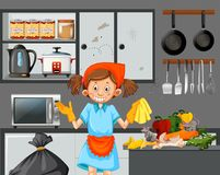 Een Meisje Cleaning Dirty Kitchen stock illustratie