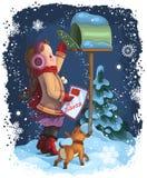 Een meisje dat een brief post aan Kerstman Royalty-vrije Stock Afbeeldingen