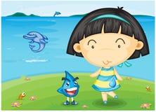 Een meisje dat zich dichtbij Overzees bevindt stock illustratie
