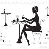 Een meisje in de Koffie Royalty-vrije Stock Foto