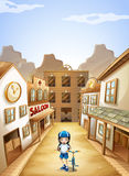 Een meisje in de stad royalty-vrije illustratie