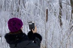 Een meisje in de winter kleedt Foto's van struiken met mooie rijp worden behandeld die stock fotografie
