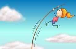 Een meisje die bij een lange stok hangen stock illustratie