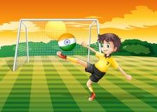 Een meisje die de bal met de Indische vlag schoppen stock illustratie