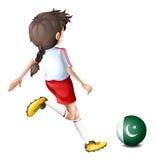 Een meisje die de bal met de vlag van Pakistan schoppen stock illustratie