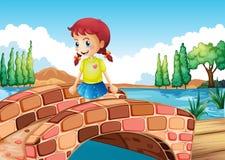 Een meisje die de brug kruisen royalty-vrije illustratie