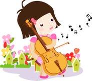 Een Meisje die een Cello spelen stock illustratie