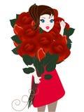 Een meisje die een groot boeket van rozen houden Stock Foto