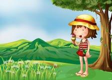 Een meisje die een roomijs eten bij de bovenkant van de heuvels royalty-vrije illustratie
