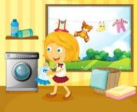 Een meisje die haar kleren wassen royalty-vrije illustratie