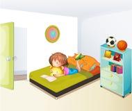 Een meisje die in haar schone slaapkamer bestuderen stock illustratie