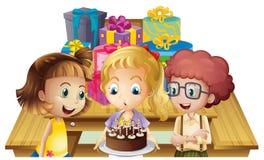 Een meisje die haar verjaardag met haar vrienden vieren royalty-vrije illustratie
