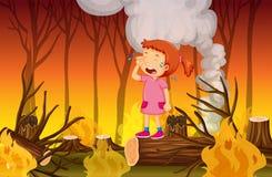 Een Meisje die in het Wildfire Bos schreeuwen vector illustratie
