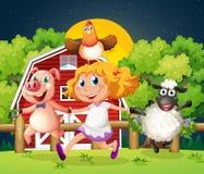 Een meisje die met de landbouwbedrijfdieren spelen Stock Afbeelding
