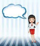 Een meisje die met een leeg wolkenmalplaatje spreken Stock Afbeeldingen