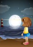 Een meisje die op de vuurtoren in het strand letten stock illustratie