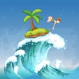 Een meisje die op het overzees met een klein eiland duiken royalty-vrije illustratie
