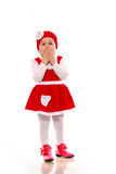 Een meisje in een gebreide kleding Royalty-vrije Stock Afbeeldingen