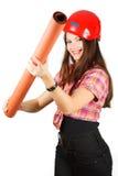 Een meisje in een helm geeft een document broodje Royalty-vrije Stock Afbeelding