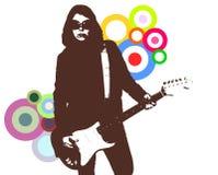Een meisje en haar gitaar stock illustratie