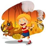Een Meisje en een Hond in Wildfire Bos royalty-vrije illustratie