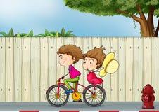 Een meisje en jongen het biking vector illustratie