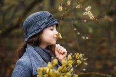 Een meisje in grijze laag en een leuke grijze hoed in het bos in de vroege lente met een wilgentak van takjes die takjes ruiken stock foto's