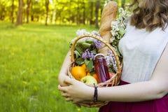 Een meisje houdt een mand fruit voor een picknick Het gaan op een picknick royalty-vrije stock foto's