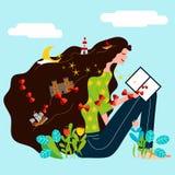 Een meisje las een boek en zijn verbeelding en fantasie leiden tot een magische wereld Stock Foto