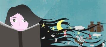 Een meisje las een boek en zijn verbeelding en fantasie leiden tot een magische wereld Royalty-vrije Stock Afbeeldingen
