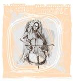Een meisje met cello royalty-vrije illustratie