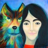 Een meisje met donker haar en een bont wolf Stock Afbeelding