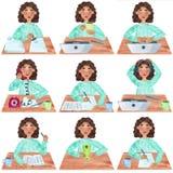 Een meisje met donker krullend haar in blauw, reeks van bureau en universitaire activiteiten stock illustratie