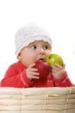 Een meisje met een appel. Stock Afbeeldingen