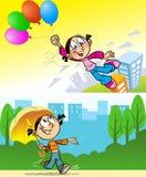 Een meisje met een paraplu en ballons royalty-vrije illustratie