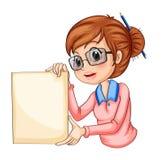 Een meisje met een potlood op haar haar die lege signage houden vector illustratie