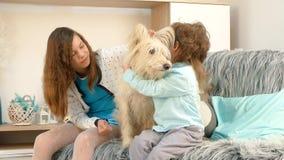Een meisje met een jongen strijkt een hond stock video