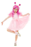 Een meisje met roze haar in het roze kleding dansen Royalty-vrije Stock Fotografie