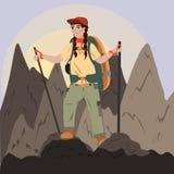 Een meisje met een rugzak beklimt tot de bovenkant van de bergen, wandelend in de bergen, trekking Illustratie in vlakke stijl vector illustratie