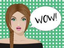 Een meisje met een zeis en de tekst wauw stock illustratie
