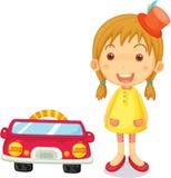 Een meisje naast Auto royalty-vrije illustratie