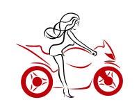 Een meisje op een rode motorfiets Stock Foto