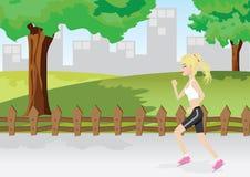 Een meisje stoot in een park aan Stock Afbeeldingen