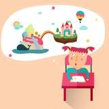 Een meisje trekt een fantasiebeeld van haar grote verbeelding i Stock Afbeelding