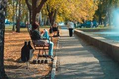 Een meisje zit op een bank in het park met een telefoon in zijn hand Stock Fotografie