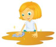 Een meisjes schoonmakende vloer Stock Fotografie