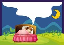 Een meisjesslaap in een bed Royalty-vrije Stock Foto's