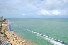 Een mening aan het Recife-stadsstrand Royalty-vrije Stock Foto