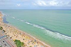 Een mening aan het Recife-stadsstrand Stock Foto